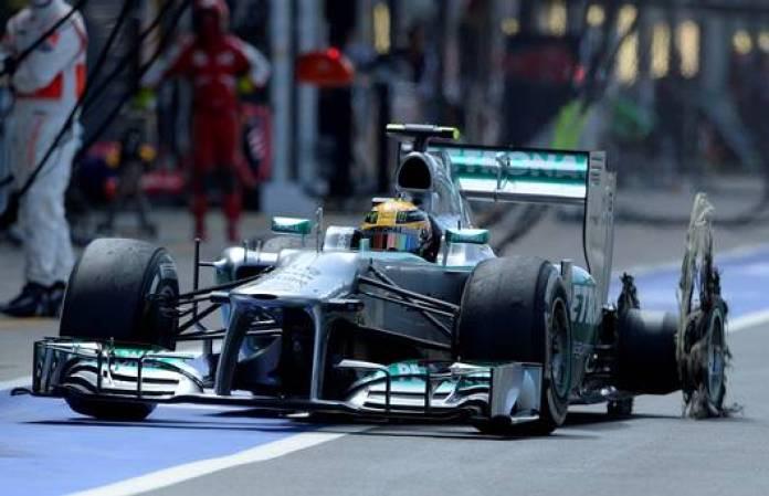 Blown Tyres Pirelli Mercedes