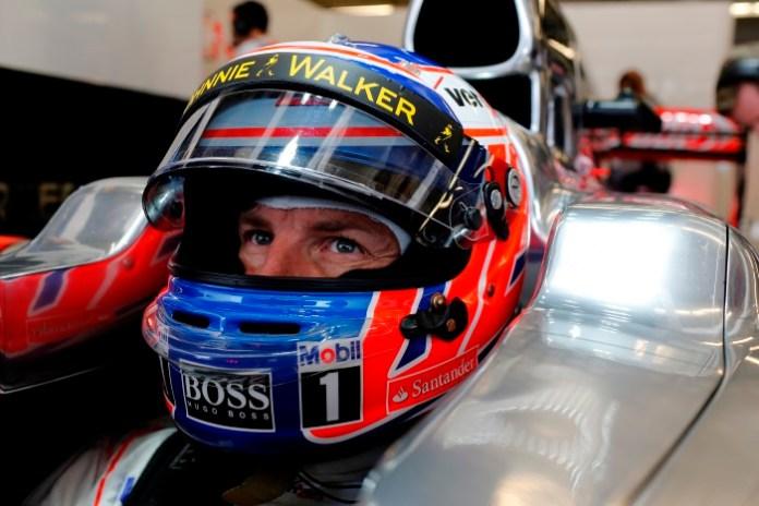 Jenson Button in his car.