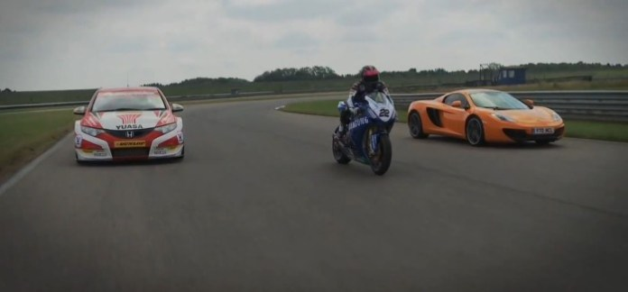 McLaren MP4-12C vs Honda Civic BTCC racer vs Honda Fireblade British Superbike