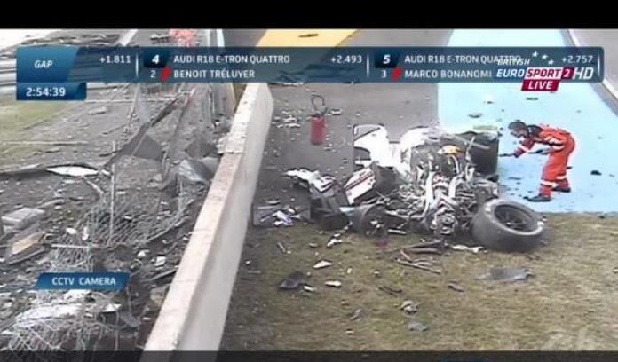 Loic Duval crash Le Mans