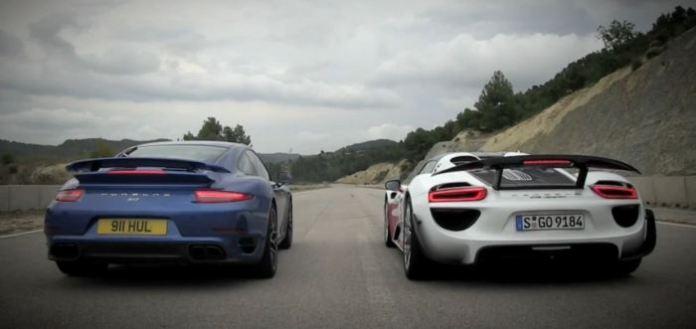 Porsche 918 Spyder Weissach vs 911 Turbo S Drag Race