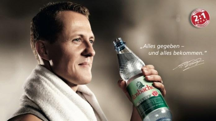 """Michael Schumacher - fit mit Rosbacher Mineralwasser / Die Verwendung dieses Bildes ist fŸr redaktionelle Zwecke honorarfrei. Abdruck bitte unter Quellenangabe: """"obs/Rosbacher"""" Weiterer Text Ÿber ots und www.presseportal.de"""
