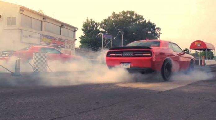 Twin 2015 Dodge Challenger SRT Hellcat Burnouts