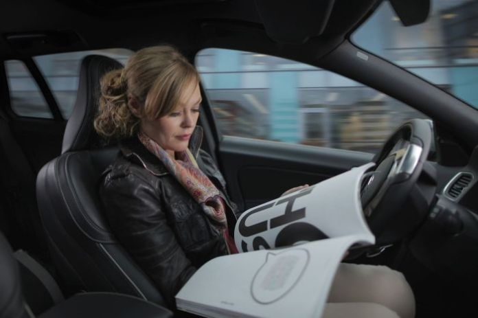 woman self-driving autonomous car