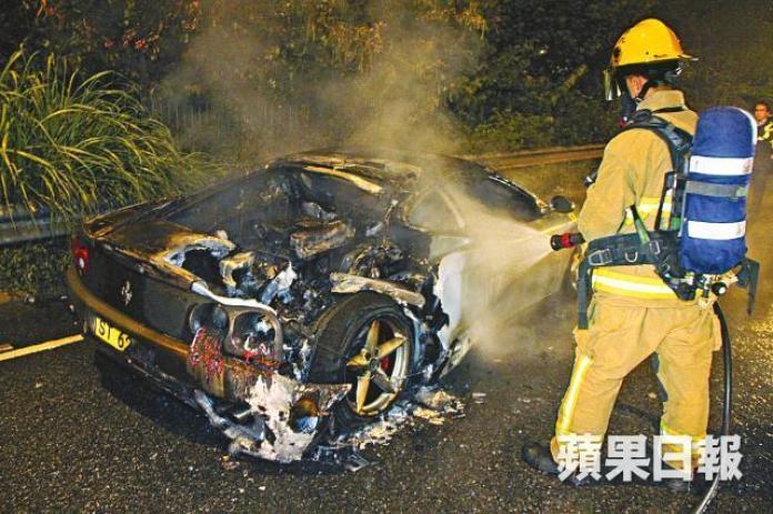 Ferrari 360 fire in Hong Kong (1)