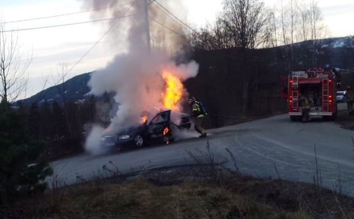 Firefighters extinguishing a car fire goes wrong