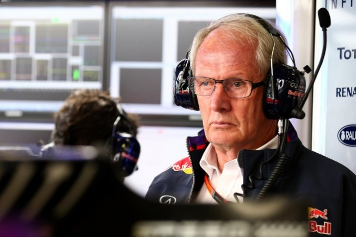 MELBOURNE, AUSTRALIA - MARCH 13: Infiniti Red Bull Racing team consultant Dr Helmut Marko looks on in the garage during practice for the Australian Formula One Grand Prix at Albert Park on March 13, 2015 in Melbourne, Australia. (Photo by Mark Thompson/Getty Images)