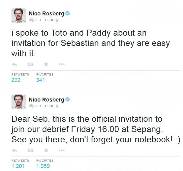 Nico Rosberg tweets to Sebastian Vettel