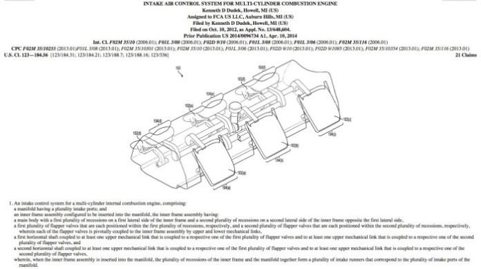 FCA intake control patent
