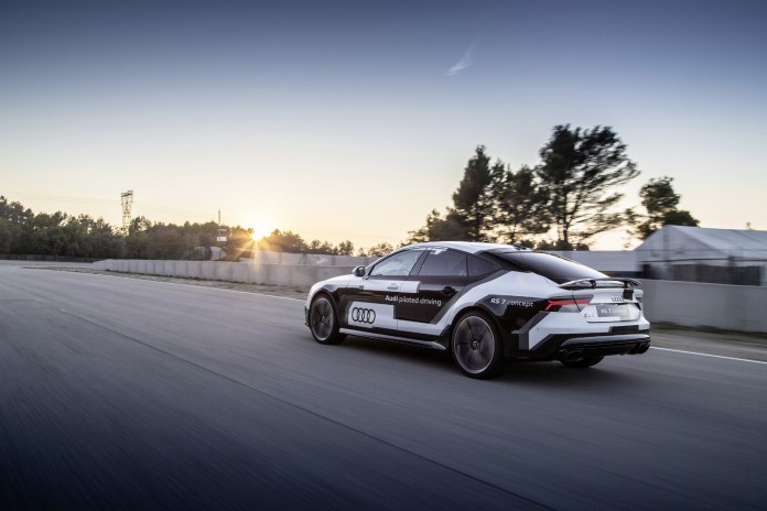 The Audi RS 7 piloted driving concept on the race track FAST Parcmotor near Barcelona.