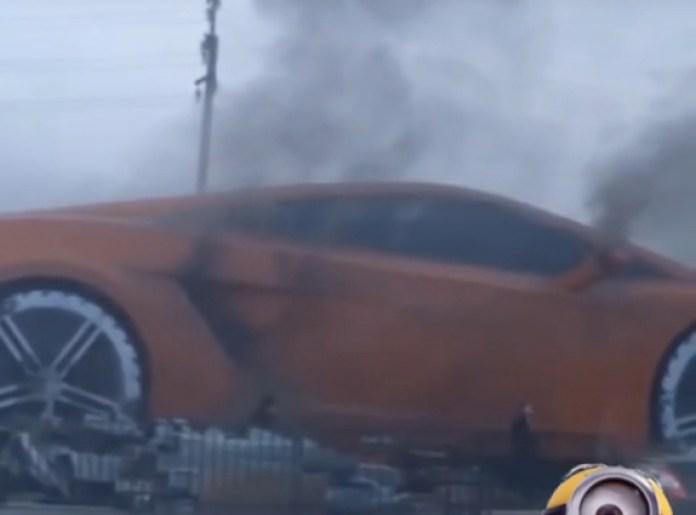 Fire Consumes Giant Lamborghini Gallardo Sculpture