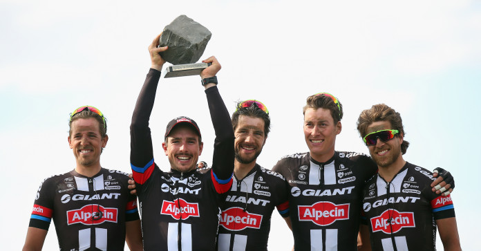 ROUBAIX, FRANCE - APRIL 12: John Degenkolb of Germany and Team Giant-Alpecin celebrates with his team after winning the 2015 Paris - Roubaix cycle race from Compiegne to Roubaix on April 12, 2015 in Roubaix, France. (Photo by Bryn Lennon/Getty Images)