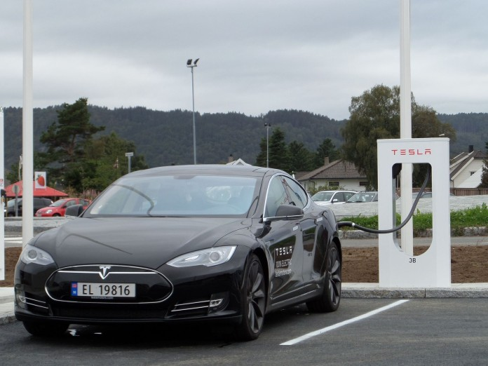 Supercharging station in Lyngdal, Norway