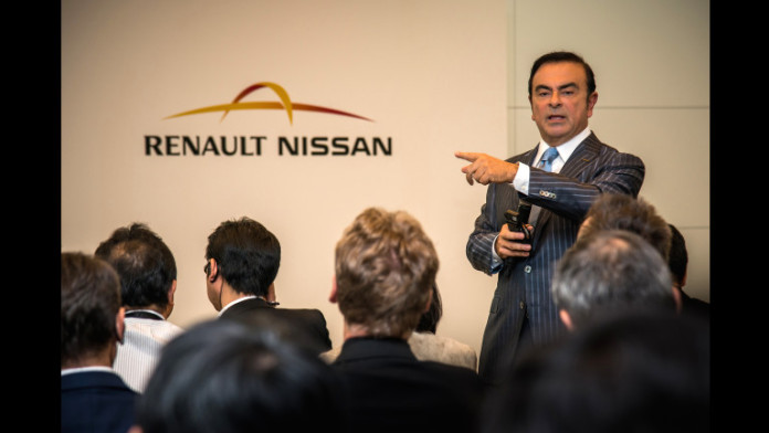 Carlos Ghosn, CEO of the Renault-Nissan Alliance, holds a media roundtable at the 2015 Tokyo Motor Show.