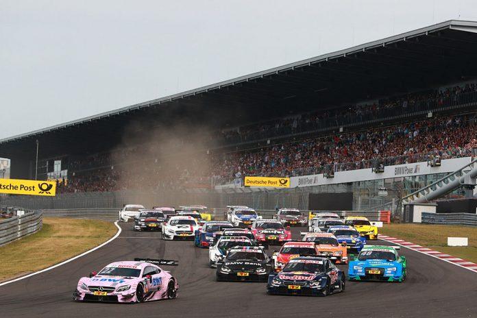 Motorsports: DTM race Nürburgring 2016, #22 Lucas Auer (AUT, Mercedes-AMG DTM Team Mücke, Mercedes-AMG C 63 DTM), #48 Edoardo Mortara (ITA, Audi Sport Team Abt Sportsline, Audi RS5 DTM), #11 Marco Wittmann (GER, BMW Team RMG, BMW M4 DTM)