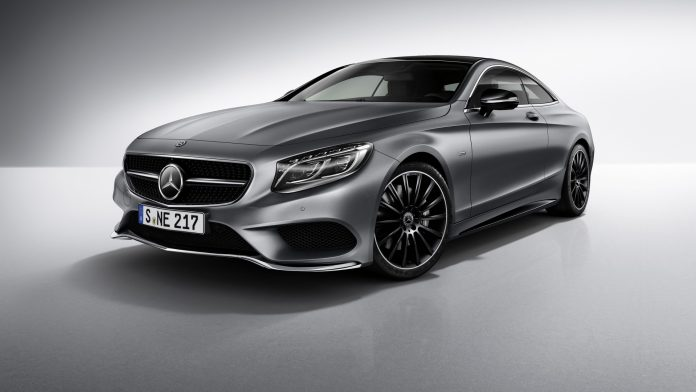Mercedes-Benz S-Class Coupé Night Edition, designo selenite grey magno, AMG multi-spoke alloy wheels, AMG bodystyling.;