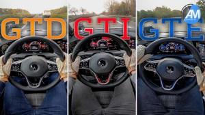 VW Golf GTI, GTE και GTD.  Ποιο είναι πιο γρήγορο στην επιτάχυνση;