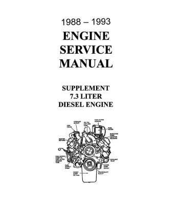 1988-93 FORD TRUCK 7.3 DIESEL Liter Engine Service Manual