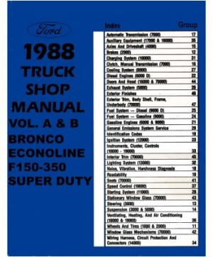 1988 FORD F150F350 LIGHT DUTY TRUCK & ECONOLINE Body, Chassis & Electrical Service Manual