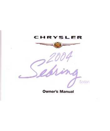 2004 CHRYSLER SEBRING SEDAN Owners Manual