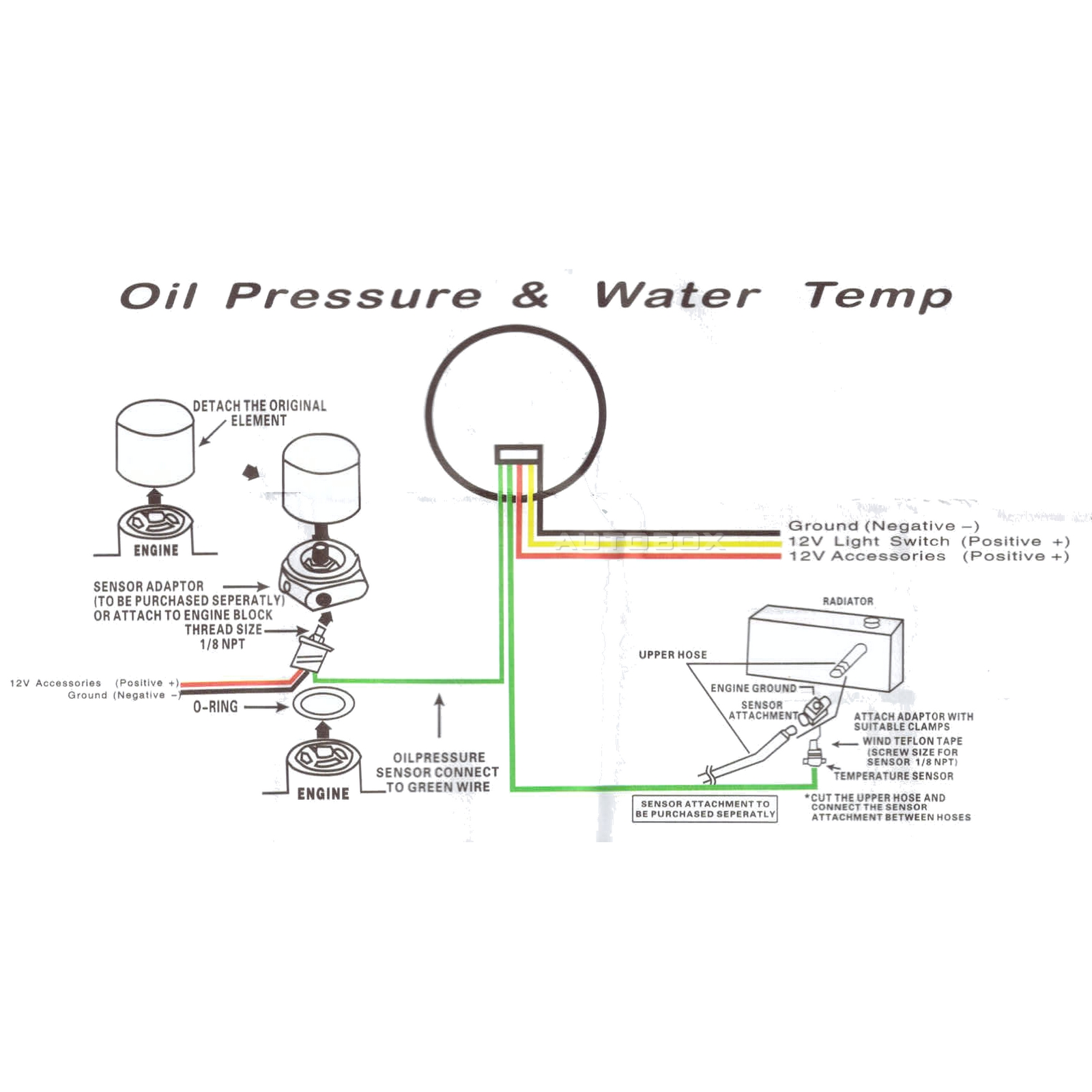 Black Electronic Water Temperature And Oil Pressure Dual