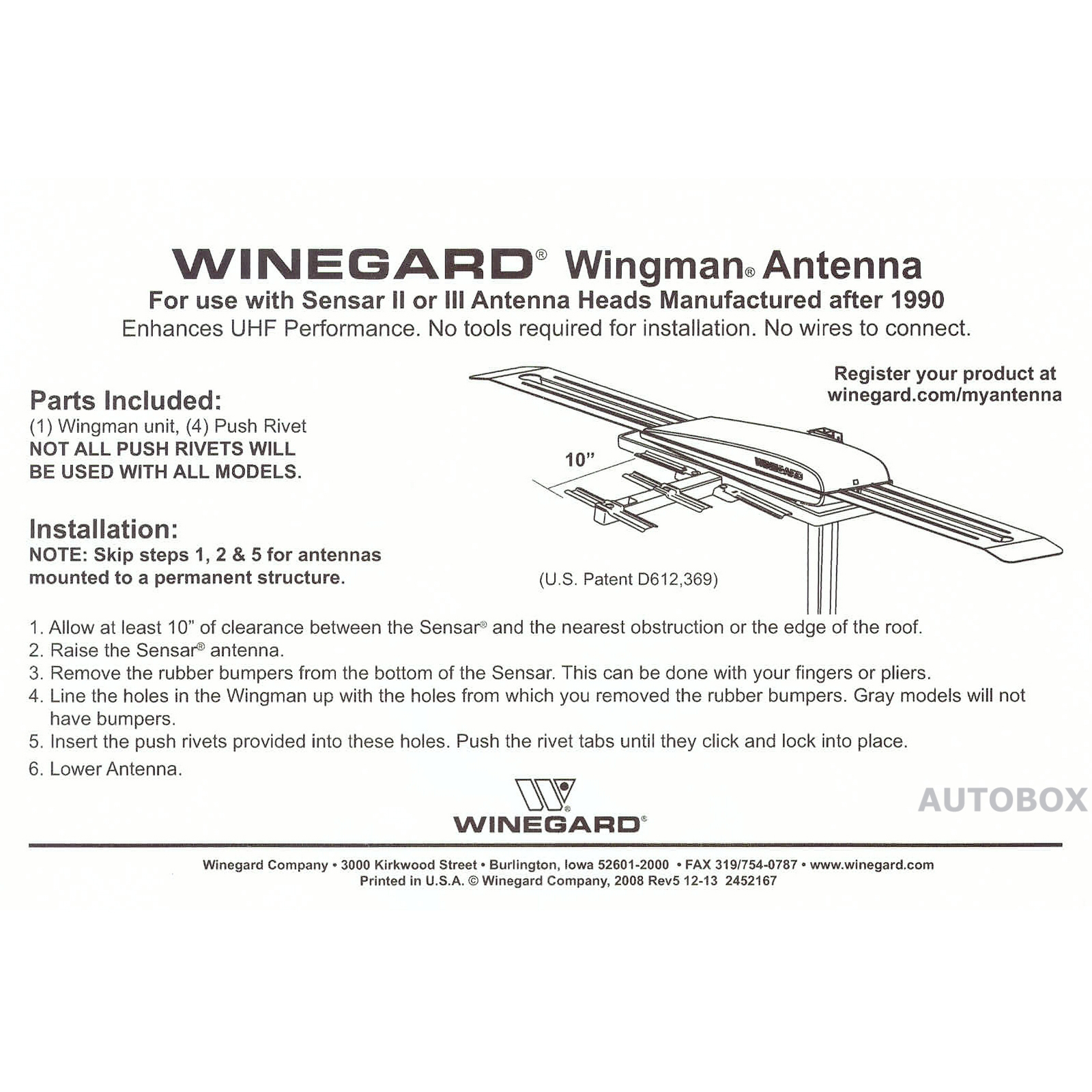 hight resolution of 039699 winegard nz wing wingman white uhf booster tv antenna add on winegard winegard tv antenna booster wiring diagram