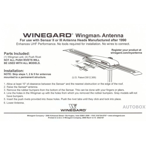 small resolution of 039699 winegard nz wing wingman white uhf booster tv antenna add on winegard winegard tv antenna booster wiring diagram