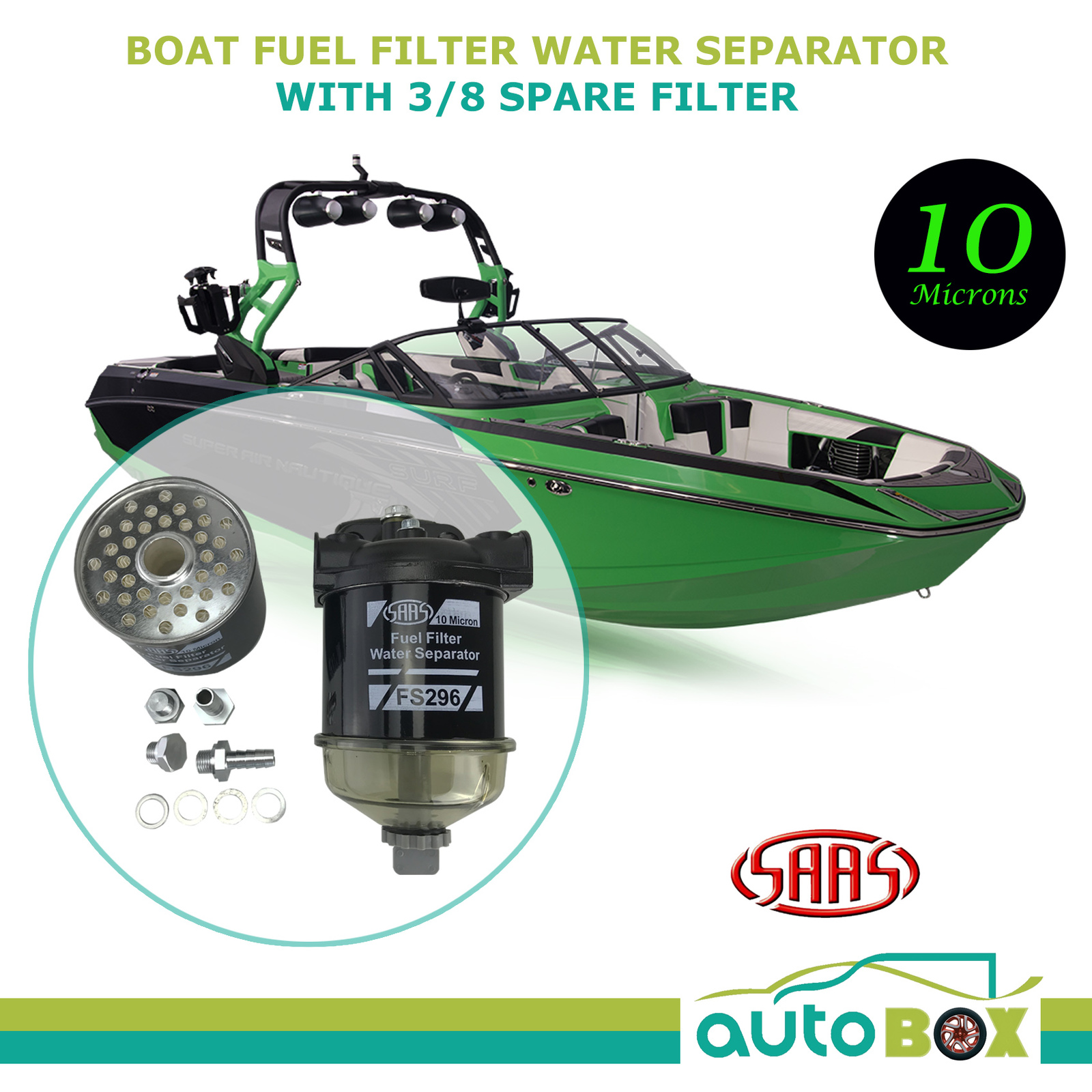 hight resolution of boat fuel filter water separator 10 microns with 3 8 barbed and spare filter