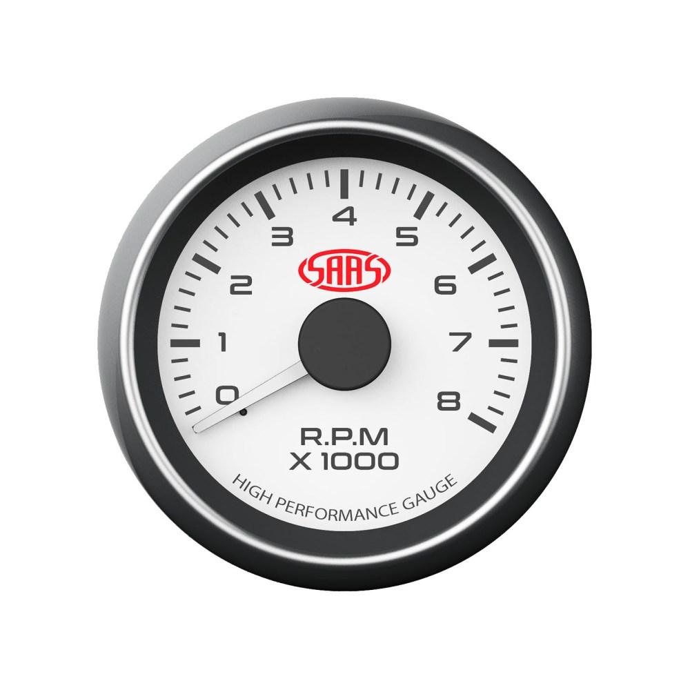 medium resolution of saas performance tachometer 8000 rpm analog white face gauge 52mm 4 colour tacho