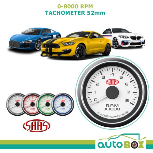 small resolution of saas performance tachometer 8000 rpm analog white face gauge 52mm 4 colour tacho