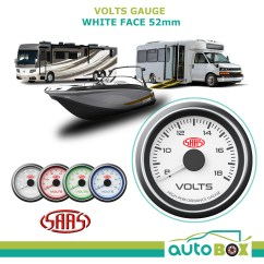 Saas Water Temp Gauge Wiring Diagram Land Rover Discovery 3 Trailer Volts 52mm White Face Voltmeter Volt Boat