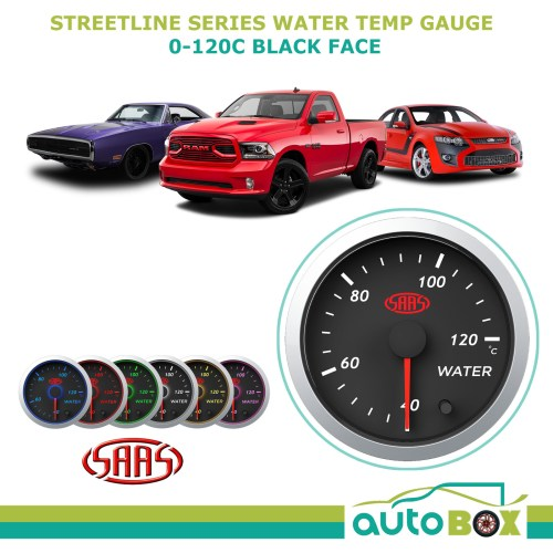 small resolution of saas street series 40 120c water temperature temp gauge black dial face 7 colour