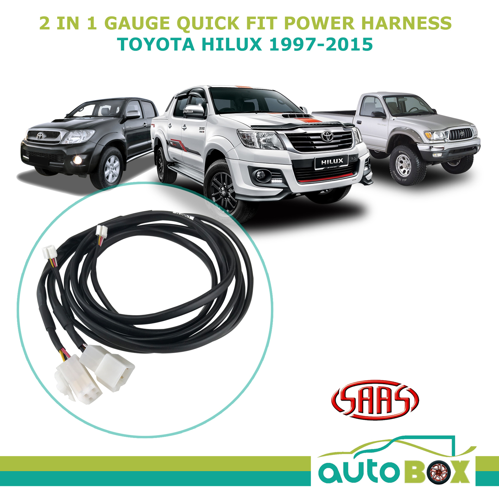hight resolution of saas trax 2 in 1 gauge quick fit power harness for toyota hilux 1997 2015