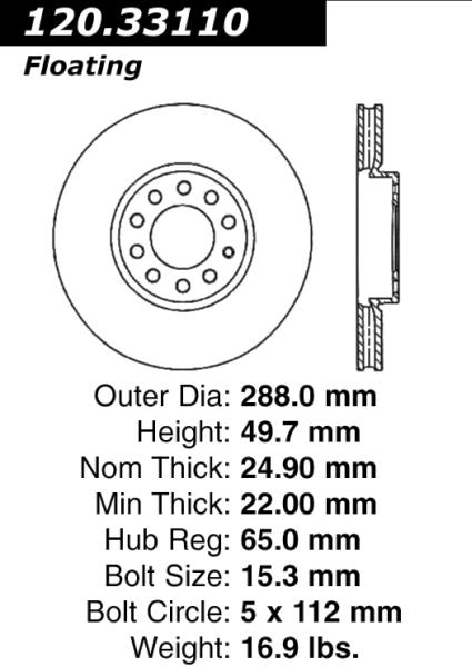 Front C-Tek Brake Rotor Volkswagen Audi 121.33110 [121