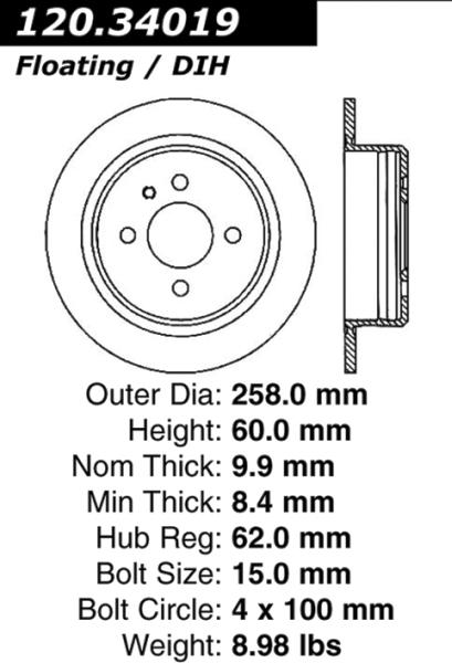 Rear C-Tek Brake Rotor BMW 318i 323i 325i 121.34019 [121