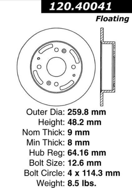 Rear C-Tek Brake Rotor Acura Honda 121.40041 [121.40041