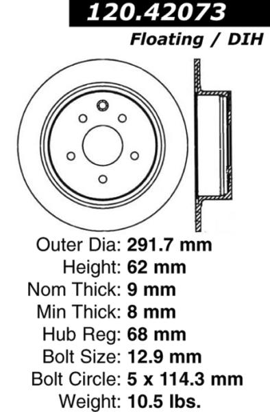 Rear Centric GCX Brake Rotor Nissan Altima 320.42073 [320