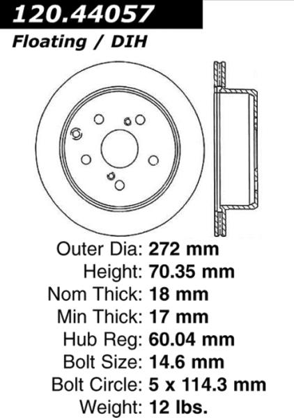 Rear C-Tek Brake Rotor Toyota Cressida 121.44057 [121