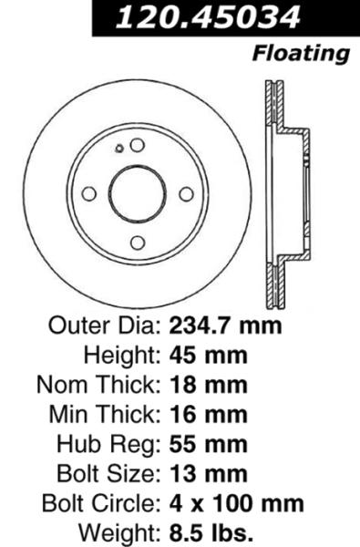 Front C-Tek Brake Rotor Mazda Miata MX-5 121.45034 [121