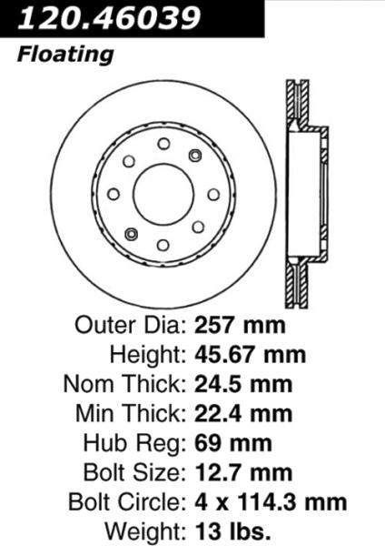 Front C-Tek Brake Rotor Mitsubishi Lancer 121.46039 [121