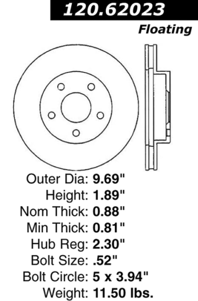 Front Standard Brake Rotor Buick Chevy GM 5061 [5061