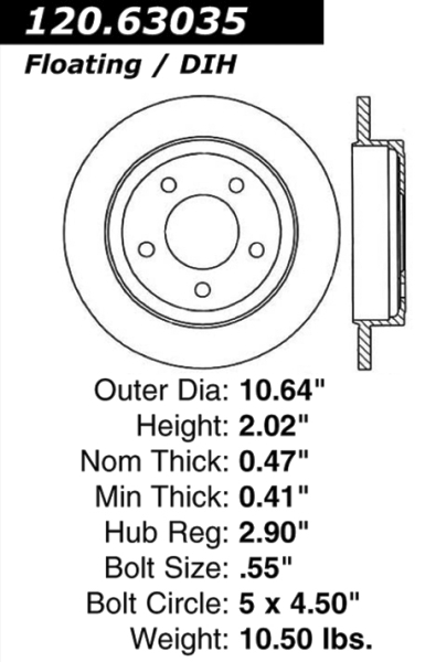 Rear C-Tek Brake Rotor Dodge Chrysler 121.63035 [121.63035