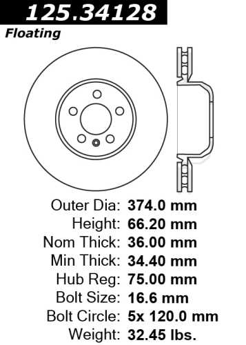 Front Left C-Tek Brake Rotor BMW 121.34128 [121.34128