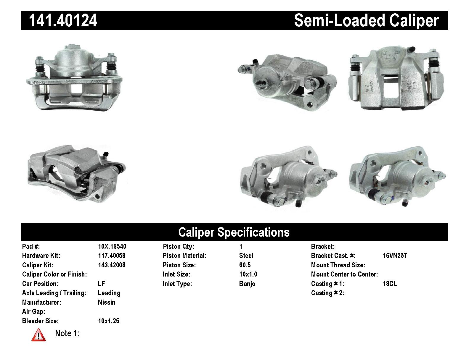 Front Left Unloaded Rebuilt Brake Caliper 141 141
