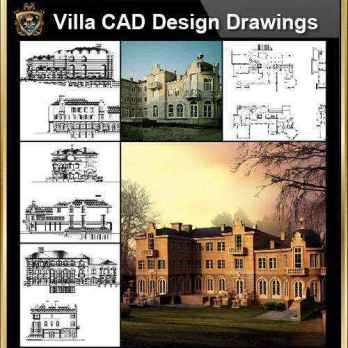 ★【Villa CAD Design,Details Project V.8-French Fontainebleau Style】Chateau,Manor,Mansion,Villa@Autocad Blocks,Drawings,CAD Details,Elevation