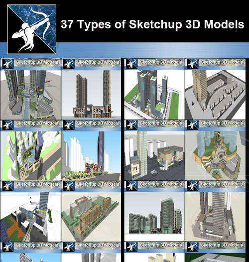 ★Best 37 Types of Commercial,Office Building Sketchup 3D Models Collection