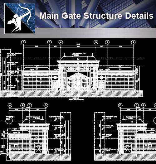 【Architecture CAD Details Collections】Main Gate Structure CAD Details
