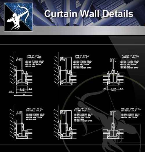 【Architecture CAD Details Collections】Curtain Wall CAD Details - Autocad  Design Pro-Autocad Blocks,Drawings Download