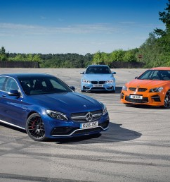 mercedes amg c63 versus bmw m3 and vauxhall vxr8 gts [ 1600 x 1060 Pixel ]