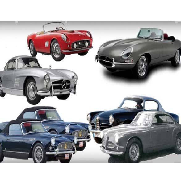 Alfa Romeos , Maserati , Jaguar E-type , Mercedes Benz , Ferrari